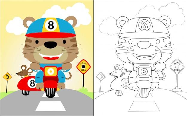 ニースの虎の漫画を乗るオートバイ