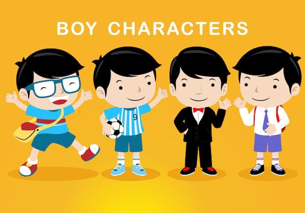 異なる衣装を持つ男の子の漫画のキャラクター