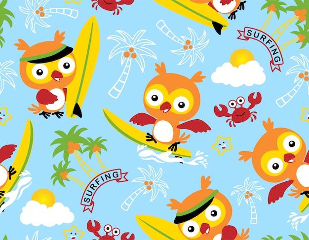 素晴らしいフクロウの漫画のサーフィンとシームレスなパターン