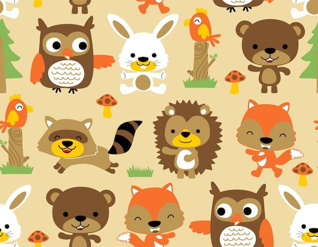 素敵な動物の森林漫画とシームレスなパターン