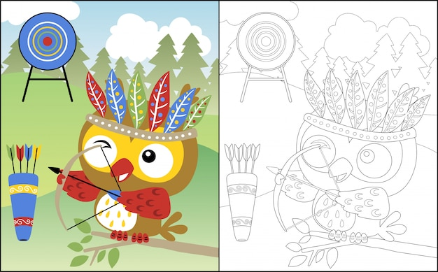 Мультфильм сова с головным убором из перьев лучник
