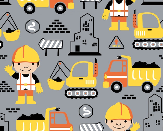 Бесшовный фон с мультяшной строительной техникой