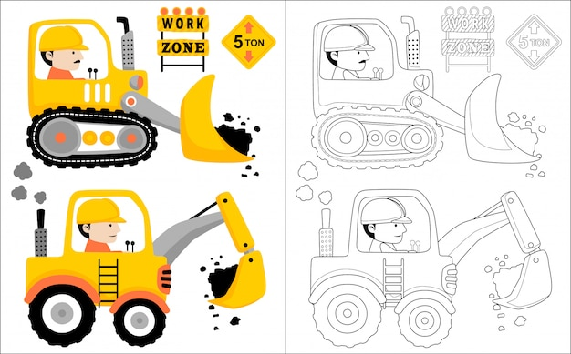 運転手と建設車両漫画
