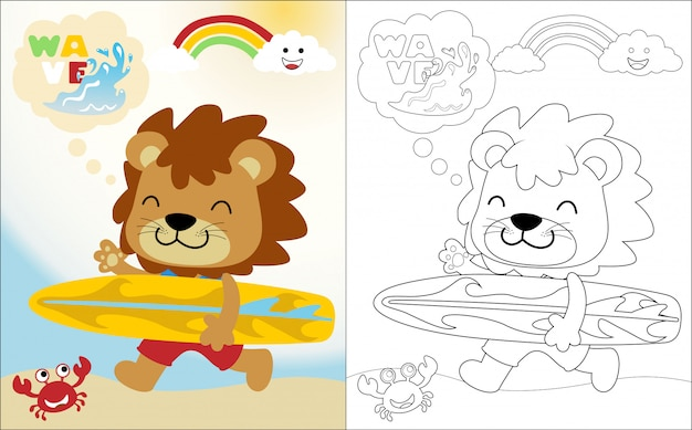 Милый забавный лев с доской для серфинга