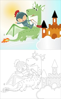 Маленький забавный рыцарь мультяшныйа ездит на драконе