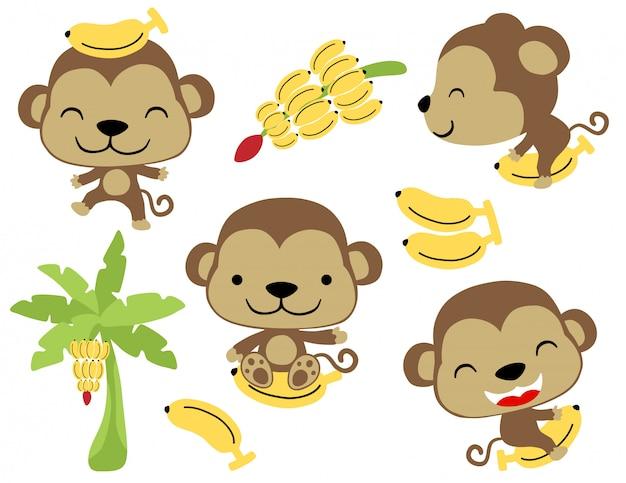 Векторный набор забавных маленьких обезьян с бананом
