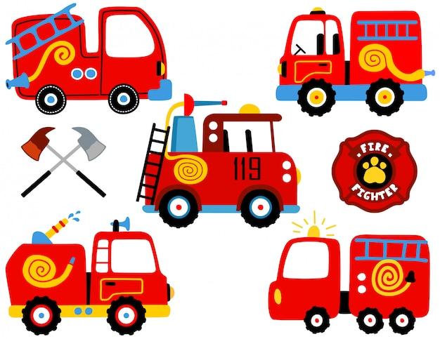 Векторный набор пожарной машины мультфильма