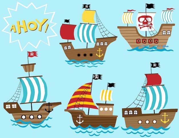 Векторный набор мультфильм парусная лодка