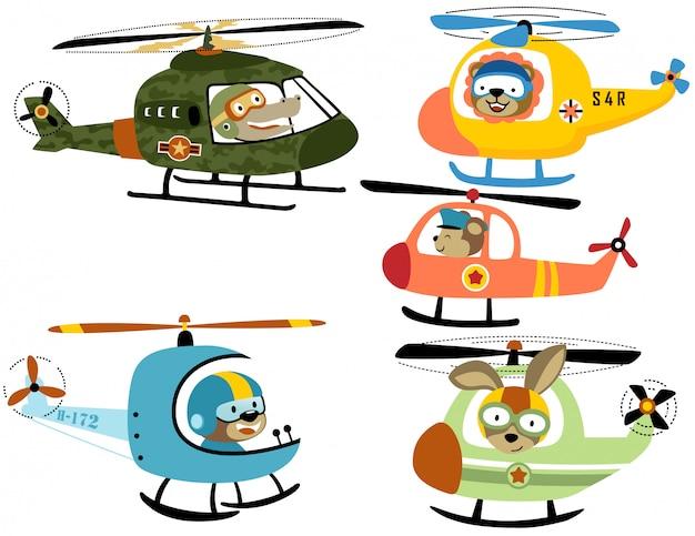 Векторный набор вертолетного мультфильма с милым пилотом