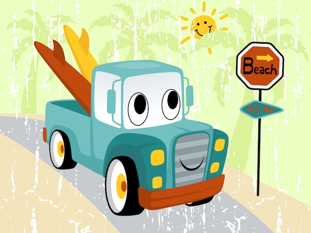 Мультфильм смешной грузовик с доской для серфинга