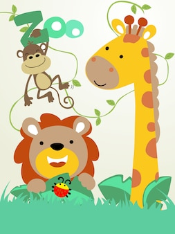 ジャングルの中で動物漫画