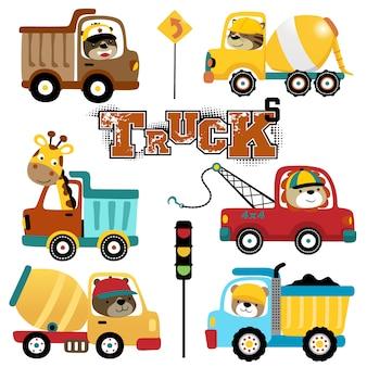 Векторный набор грузовиков мультфильма с забавными водителями