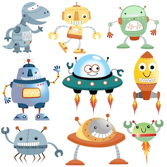 Векторный набор забавных мультяшных роботов