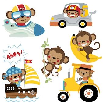 Векторный набор забавных мультяшных обезьян