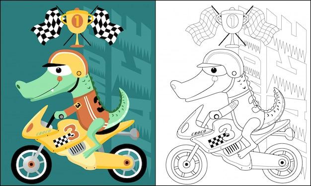 Забавный мультяшный крокодил на мотоцикле