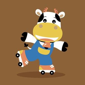 牛遊ぶローラースケート、ベクトル漫画