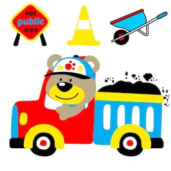 建設機械と面白いトラックの運転手の漫画