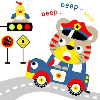 かわいい警察のパトロール、交通標識付きの漫画