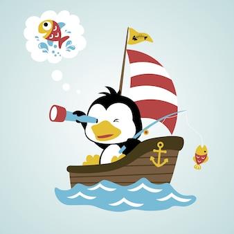 Пингвин на паруснике для рыбалки