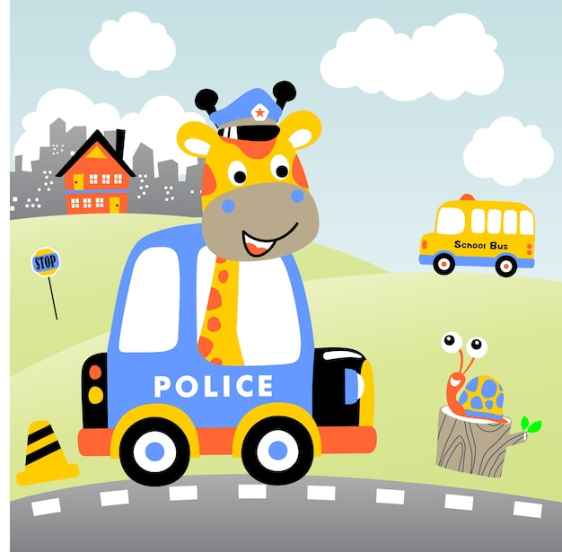 警察パトロール漫画ベクトル