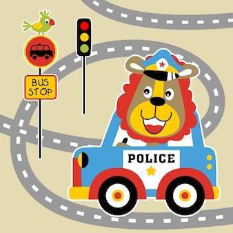 ライオン、交通警察、ベクトル漫画のイラスト