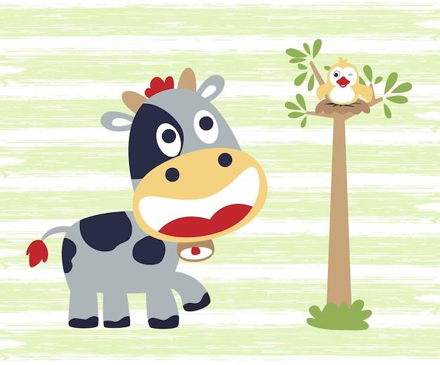 小さな牛の漫画と鳥