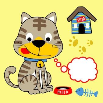 猫の食事時間、ベクトル漫画のイラスト