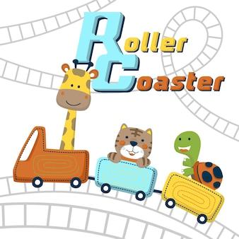 面白い動物の漫画と遊ぶジェットコースター