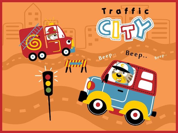 面白いドライバーと都市交通の漫画車
