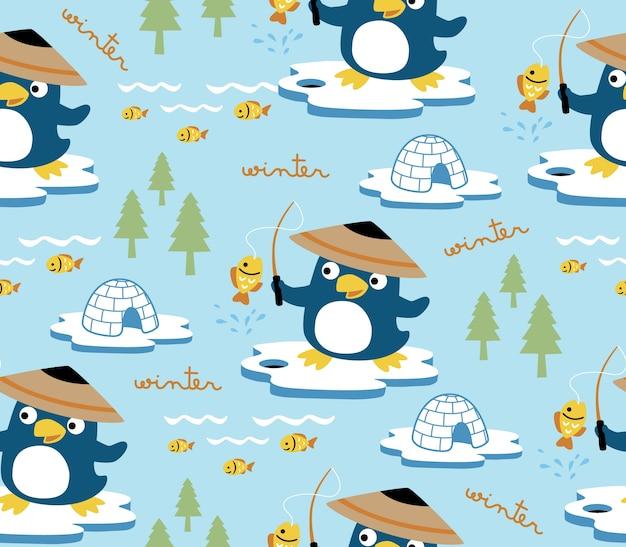 ペンギンと北極のシームレスなパターンベクトル漫画最高のフィッシャー