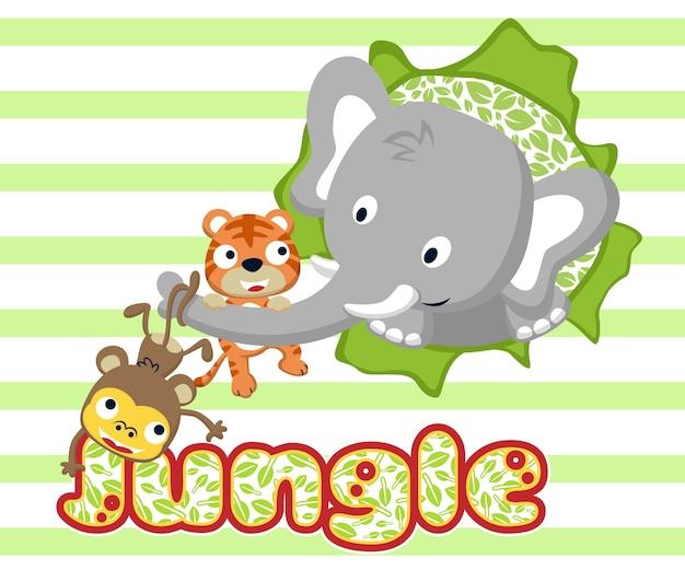 Красивый мультяшный слон с маленькими друзьями