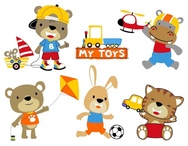 おもちゃを持つ動物漫画のセット