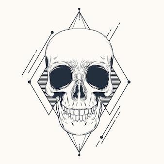ベクトルの頭蓋骨手描きの幾何学イラスト