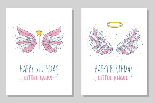 С днем рождения маленькая фея и ангел шаблоны карточек. широкие крылья с золотым ореолом и волшебной палочкой. контурный рисунок в современной линии с объемом. иллюстрация на белом.