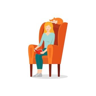 Векторный мультфильм девочка читает книгу в кресле со своей кошкой