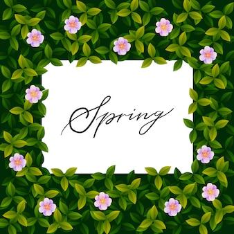 Весной типографии рисованной надписи плакат с цветочной рамкой декора.