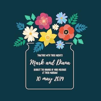花と花の結婚式招待状の背景。
