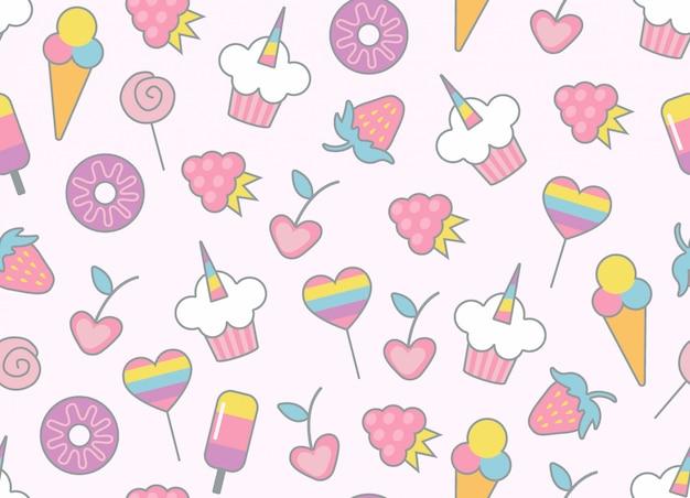 お菓子のシームレスパターン