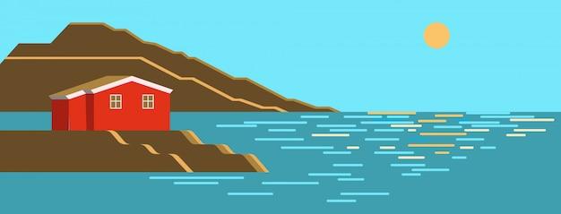 夏の海の日、太陽正午カラフルな風景、茶色の石の崖