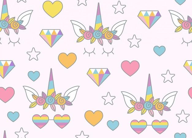 ユニコーン、虹、お菓子、その他のオブジェクトのシームレスなパターン、明るいピンクの背景