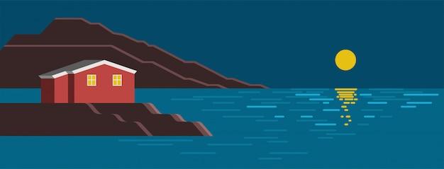 夏の海の夜のカラフルな風景