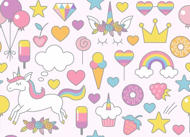 お菓子のシームレスなパターン背景