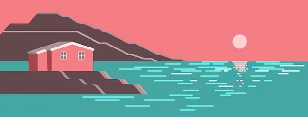 夏の海の太陽の夜明けのカラフルな風景