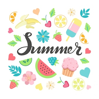 手は、夏のタイポグラフィレタリングポスターと夏の要素のクリップアートセットをスケッチしました。