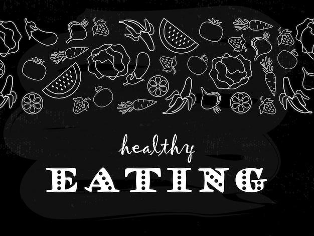 健康的な食事のタイポグラフィポスター