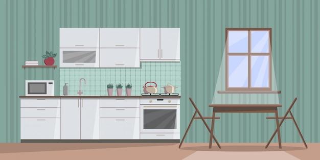 窓からの月明かりと夜に白い居心地の良いキッチンインテリア