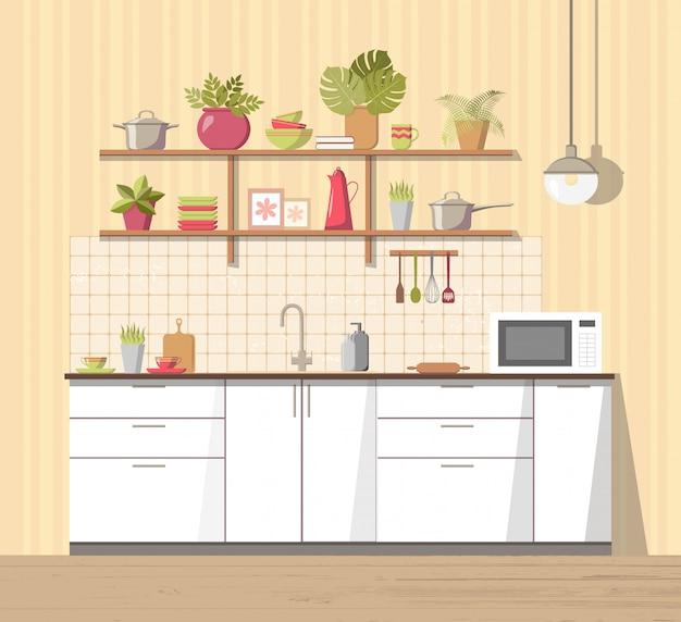 白い居心地の良いキッチンインテリアと家具