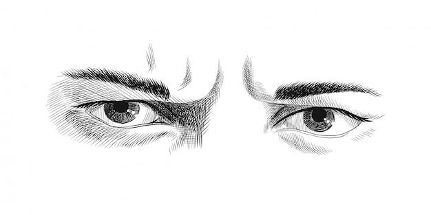 男性の怒りの渋面の目