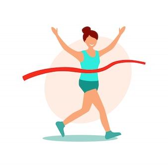 走っている女性。フィニッシュラインを横切る女性。漫画フラットスタイルのベクトル図、勝者の女の子
