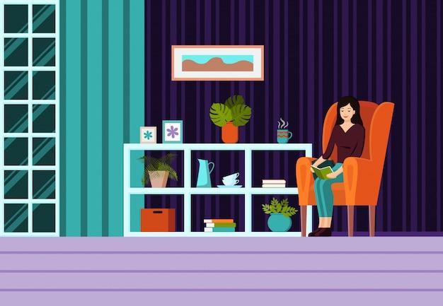 モダンなフラット漫画スタイルのベクトル図肘掛け椅子、女の子、ランプ付きのインテリア。